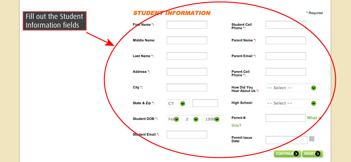 Fill Out Student Info